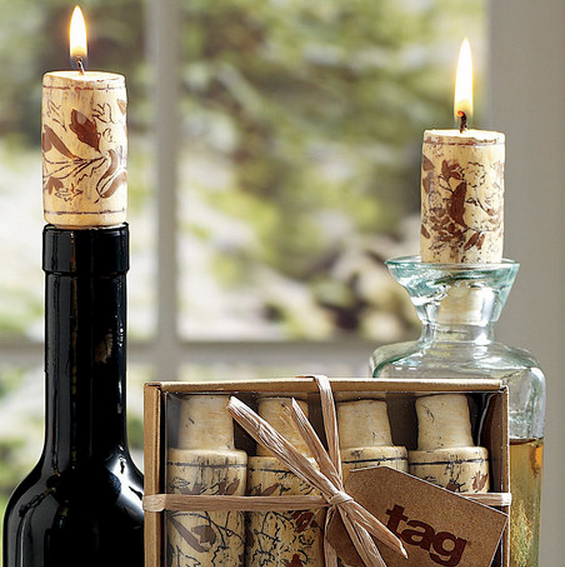 Cork Candles: Wine Cork Candles (Set Of 4) In Wine Accessories