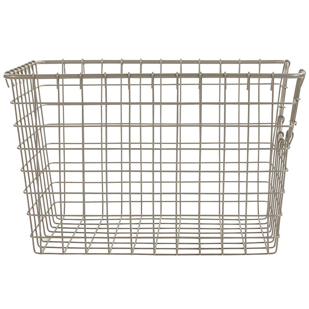wire storage basket nickel in wire baskets. Black Bedroom Furniture Sets. Home Design Ideas