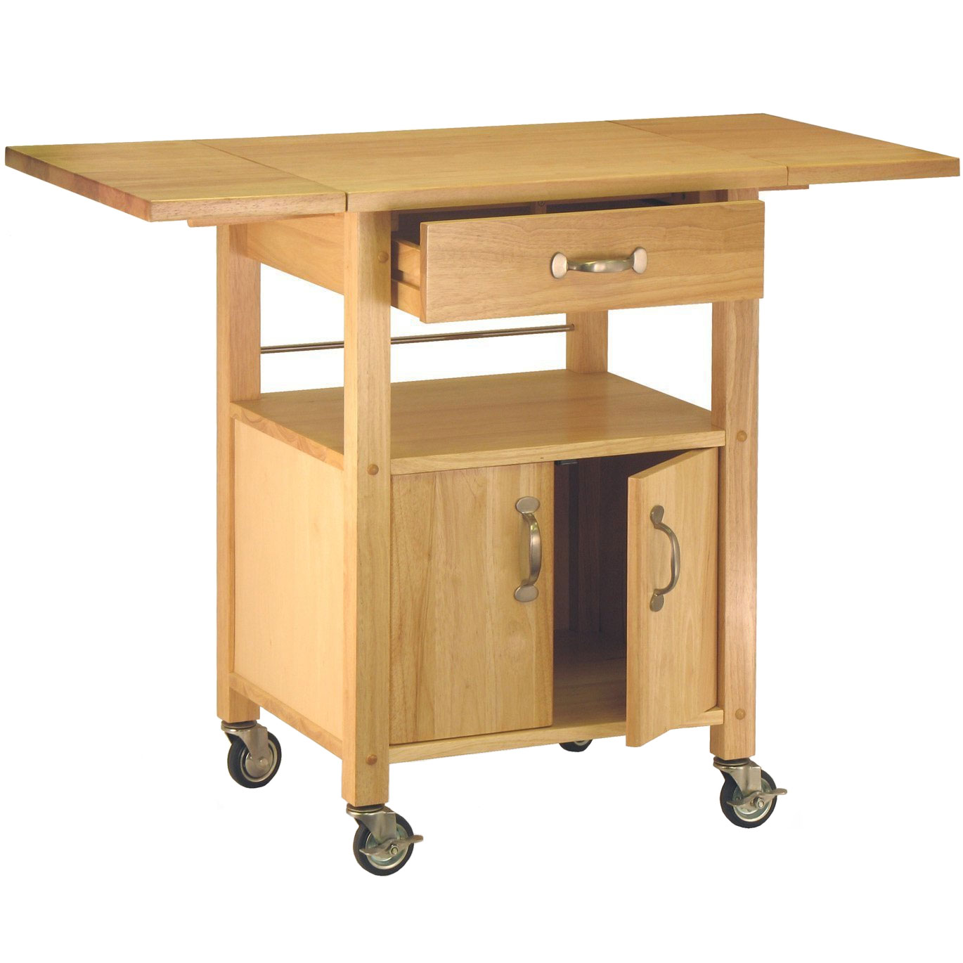 Wood Kitchen Cart With Drawer In Kitchen Island Carts