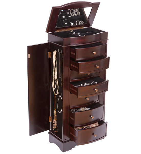 Cedar Jewelry Armoire ~ Wooden jewelry armoire dark walnut in armoires