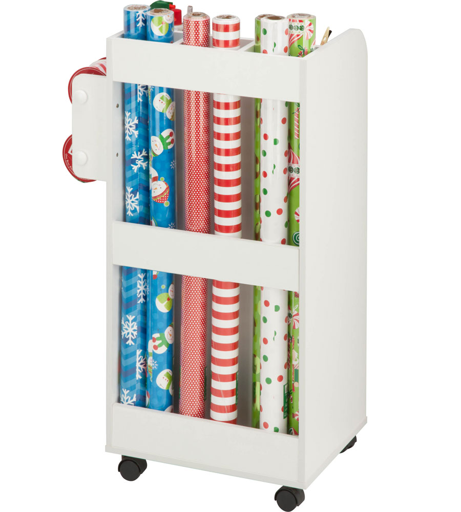 wrapping paper cart in gift wrap organizers