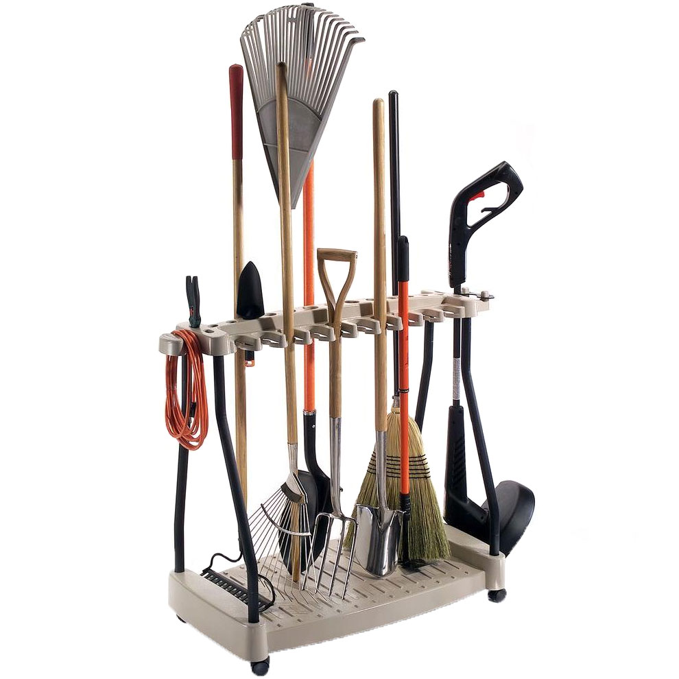 Yard tool organizer rack in garden tool storage for Gardening tools organizer