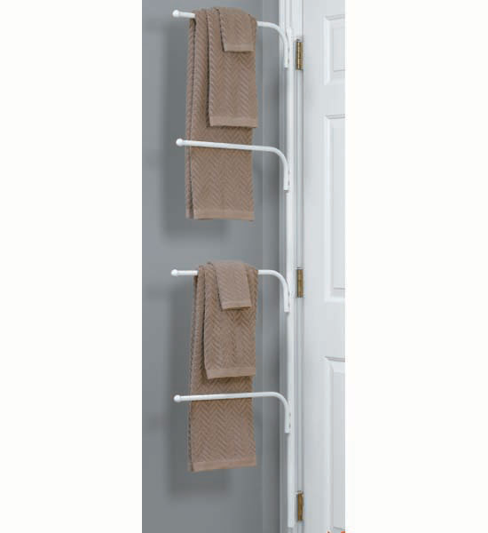 Hinge It Clutter Buster Door Towel Rack White In Behind The Door Storage