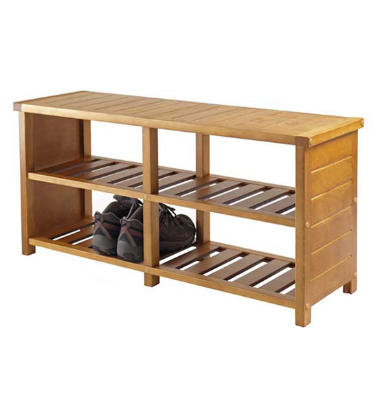 Bench With Shelves Teak Finish In Storage Benches