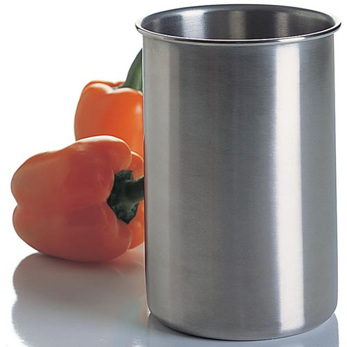 Brushed stainless steel utensil holder in kitchen utensil for Kitchen utensil holder