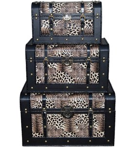 Animal Print Storage Trunks (Set of 3) Image