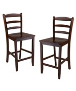 Antique Walnut Ladder Back Bar Stool - Set of 2 by Winsome Trading