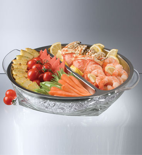 Stainless steel iced appetizers serving tray in trays