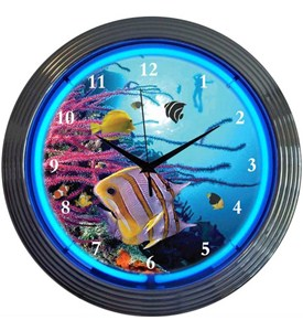 Aquarium Neon Wall Clock Image