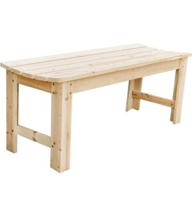 Backless Wooden Outdoor Bench Image