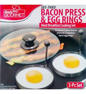 Bacon Press and Egg Rings (Set of 3) Image