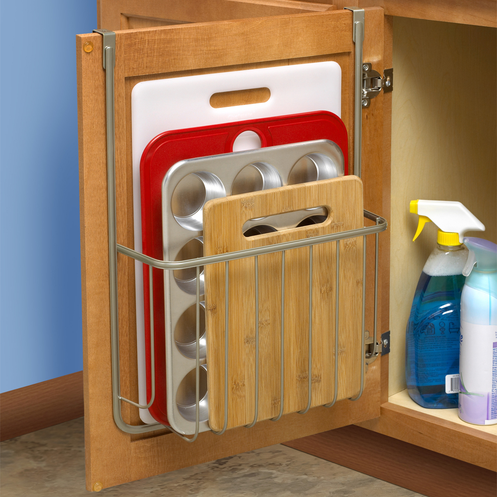 Bakeware organizer in cabinet door organizers for Kitchen cabinet organizers