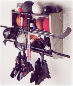 Wall Mount Sports Gear Rack In Sports Equipment Organizers