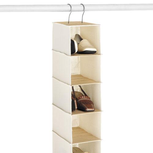 canvas and bamboo ten shelf shoe organizer in hanging shoe