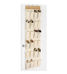Canvas and Bamboo Over the Door Shoe Organizer Image