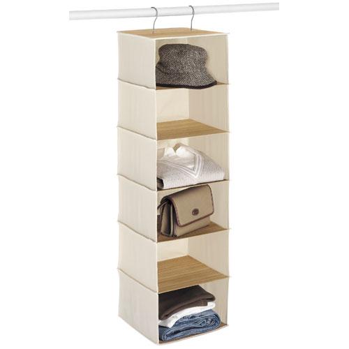 Nice Canvas And Bamboo Six Shelf Closet Organizer Image