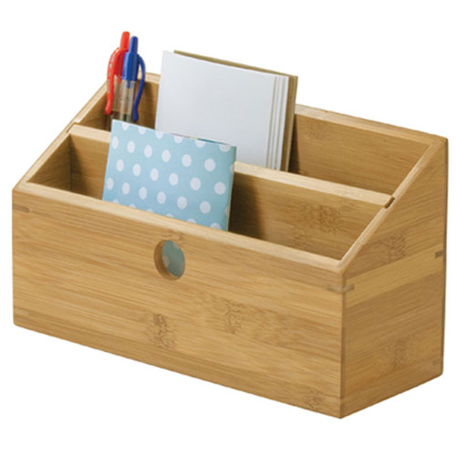 Bamboo desktop bill and mail organizer in mail organizers - Bamboo desk organiser ...