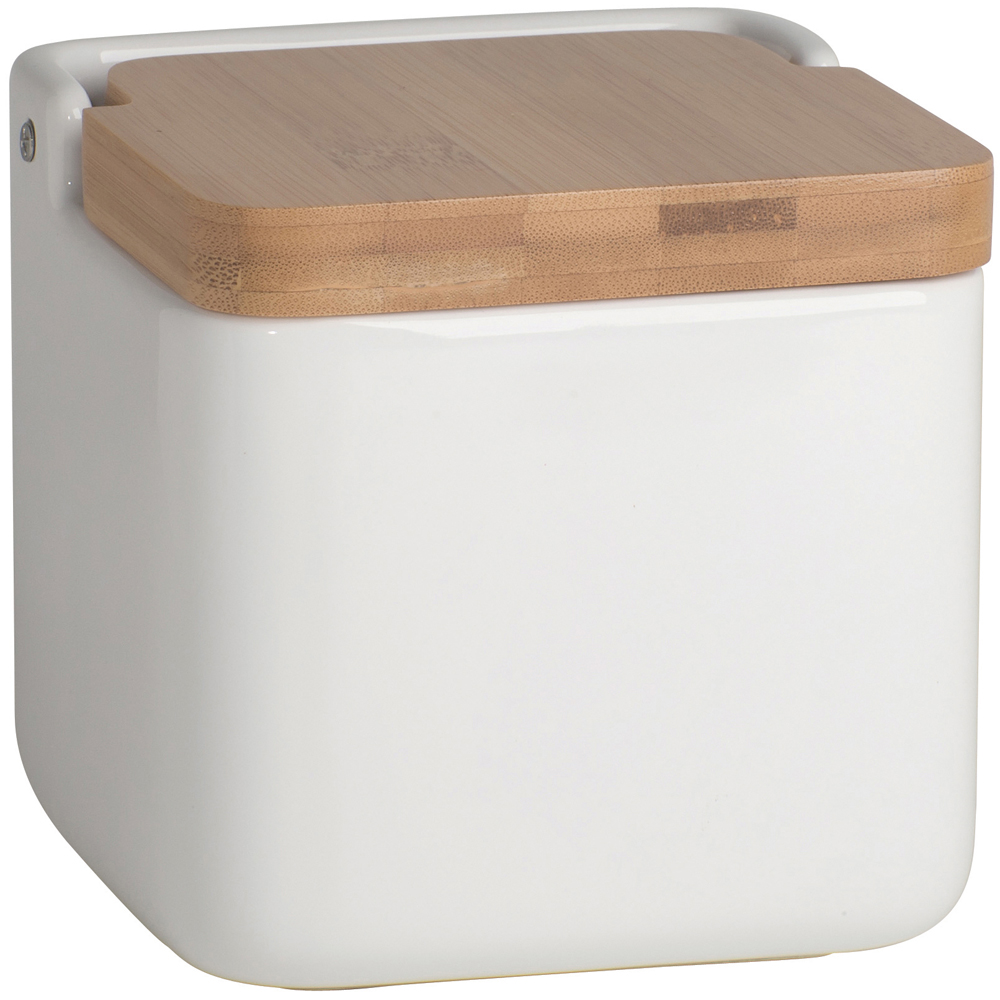 Bamboo and Ceramic Food Storage Container in Kitchen Canisters