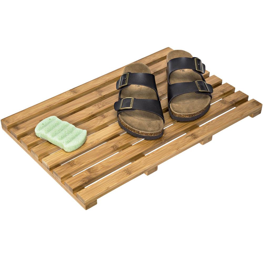 Bamboo Bath Mat In Shower And Bath Mats