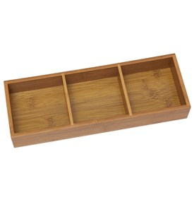 Bamboo Drawer Organizer - Three Partition Image