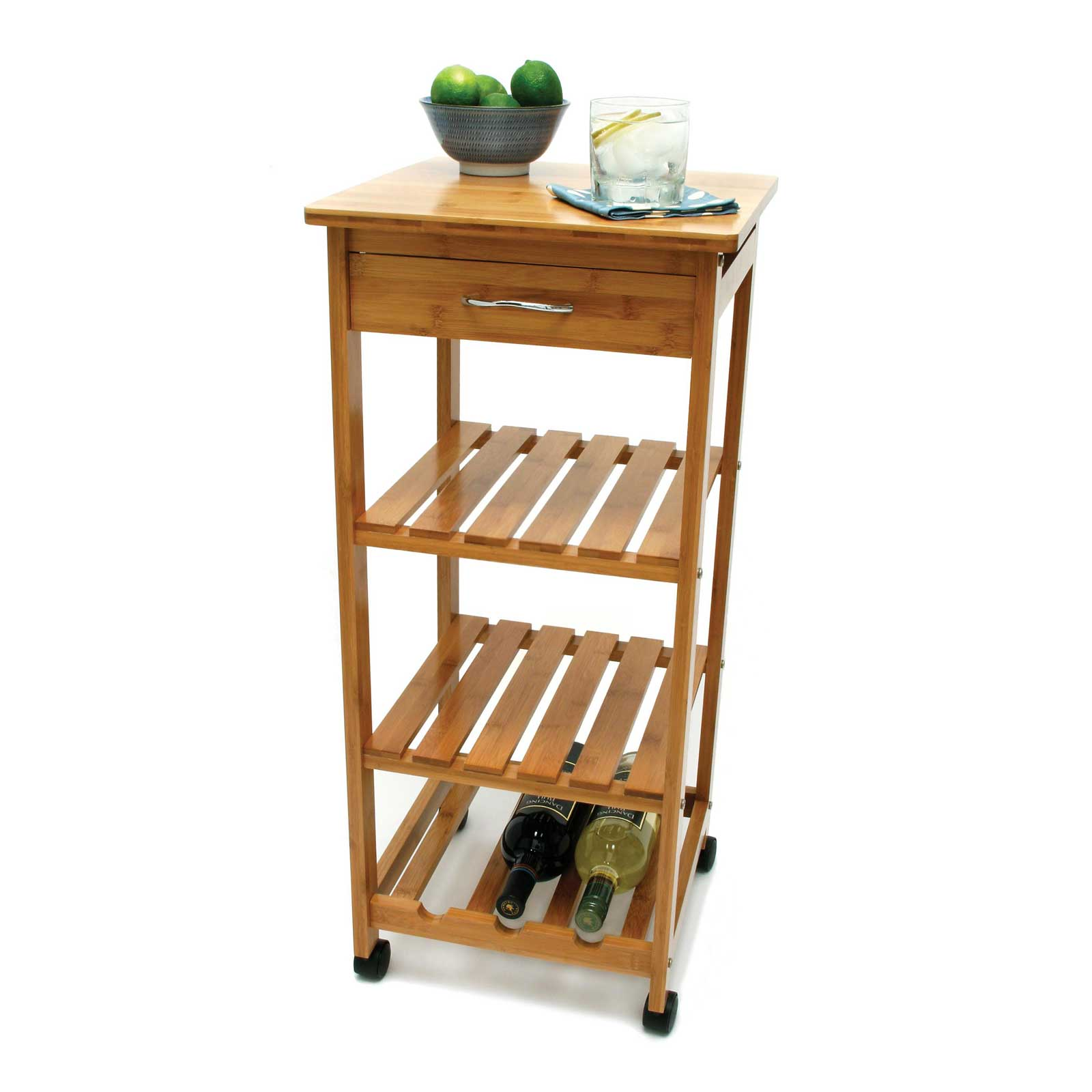 Bamboo Kitchen Cart With Shelving ...