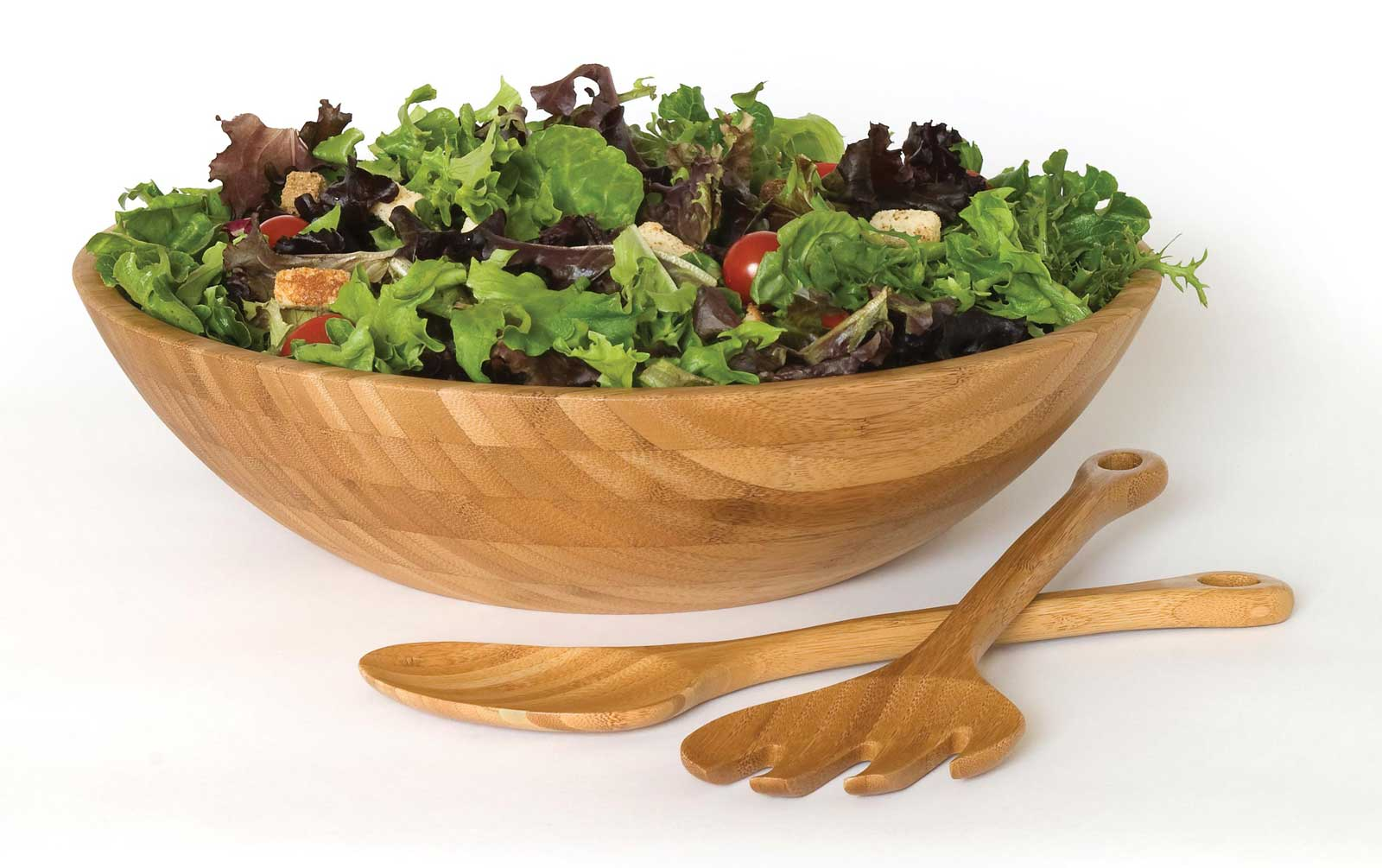 Bamboo Salad Serving Set And Bowls In Tableware Sets