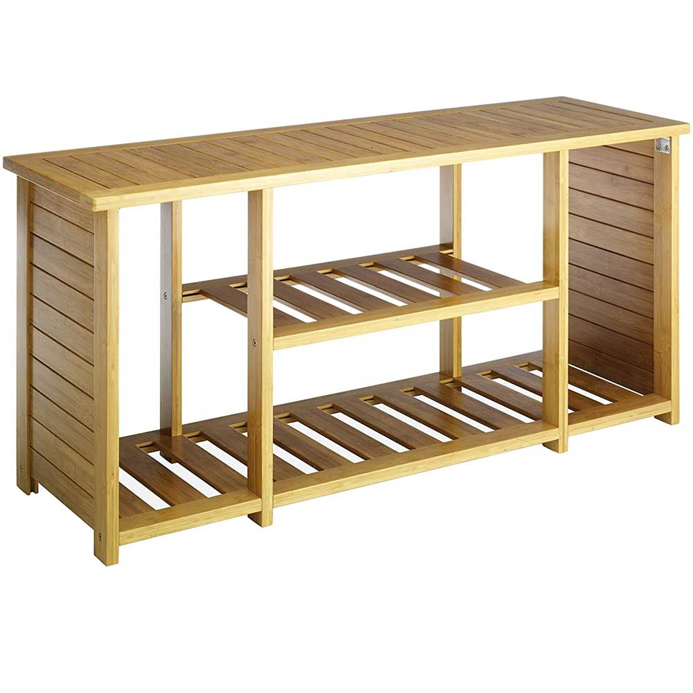 Bamboo Storage Bench In Storage Benches