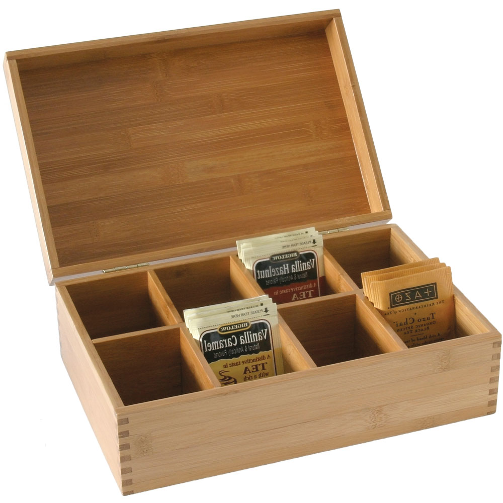 Bamboo Storage Box With Dividers In Tea And Coffee Storage
