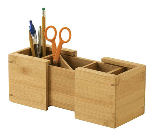 Bamboo expandable pencil cup in desk accessories - Bamboo desk organiser ...