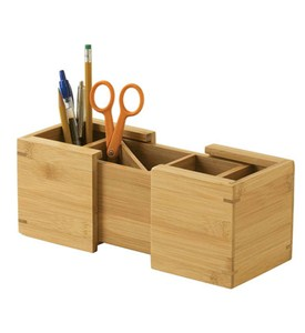Bamboo Expandable Pencil Cup Image
