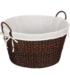 Banana Leaf Wicker Laundry Basket - Stained Image
