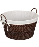 Banana Leaf Wicker Laundry Basket - Stained