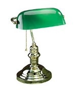 Banker Desk Lamp with Green Glass
