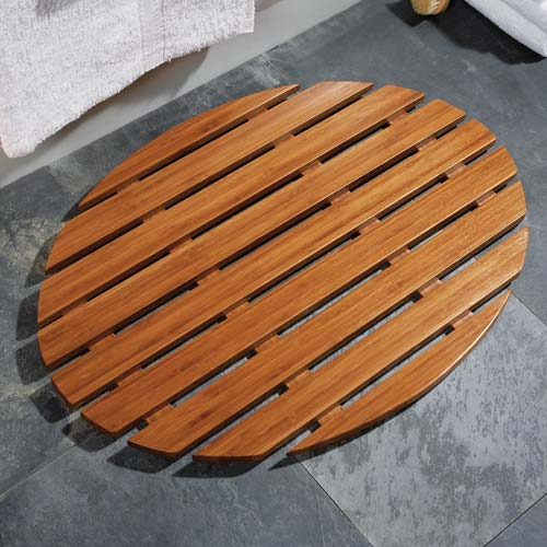 Oval Bamboo Shower And Bath Mat Image