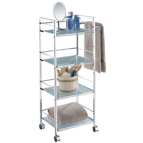 Four-Tier Rolling Bath Shelf and Towel Bar in Free Standing Bath Shelves