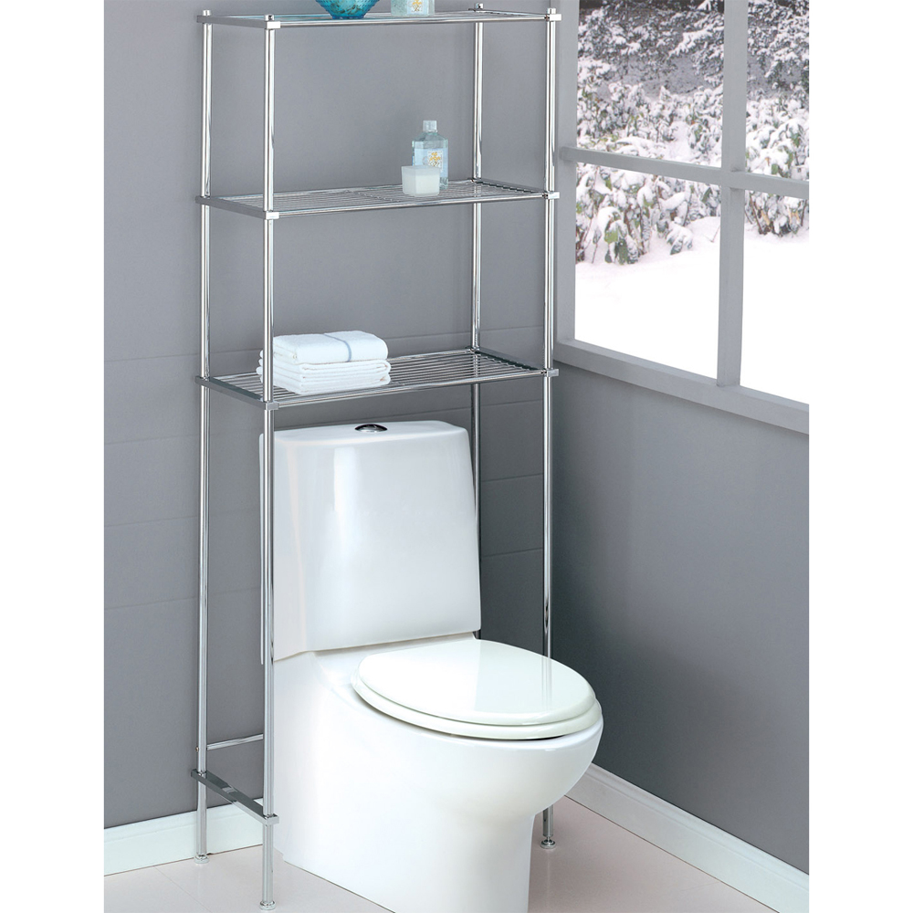 Bathroom over toilet space saver in over the toilet shelving for Bathroom over the toilet shelf