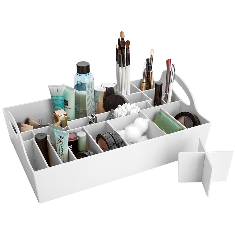 Bathroom vanity tray in cosmetic organizers for Bathroom organizers