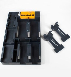 Battery Storage Rack with Battery Tester - Black Image