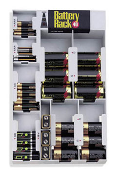 Battery Rack 40 With Tester Gray In Battery Organizers