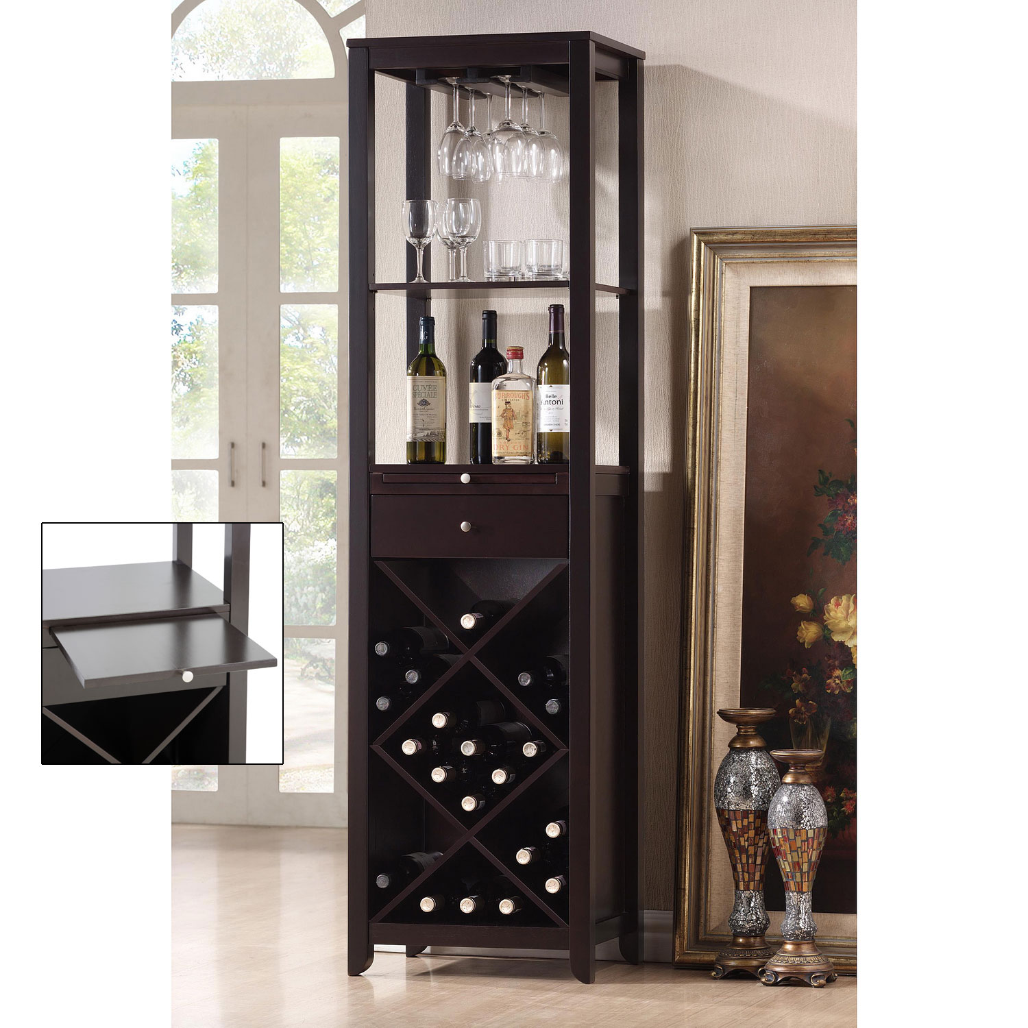 Baxton Studio Austin Modern Wine Tower By Wholesale Interiors In Wine Cabinets