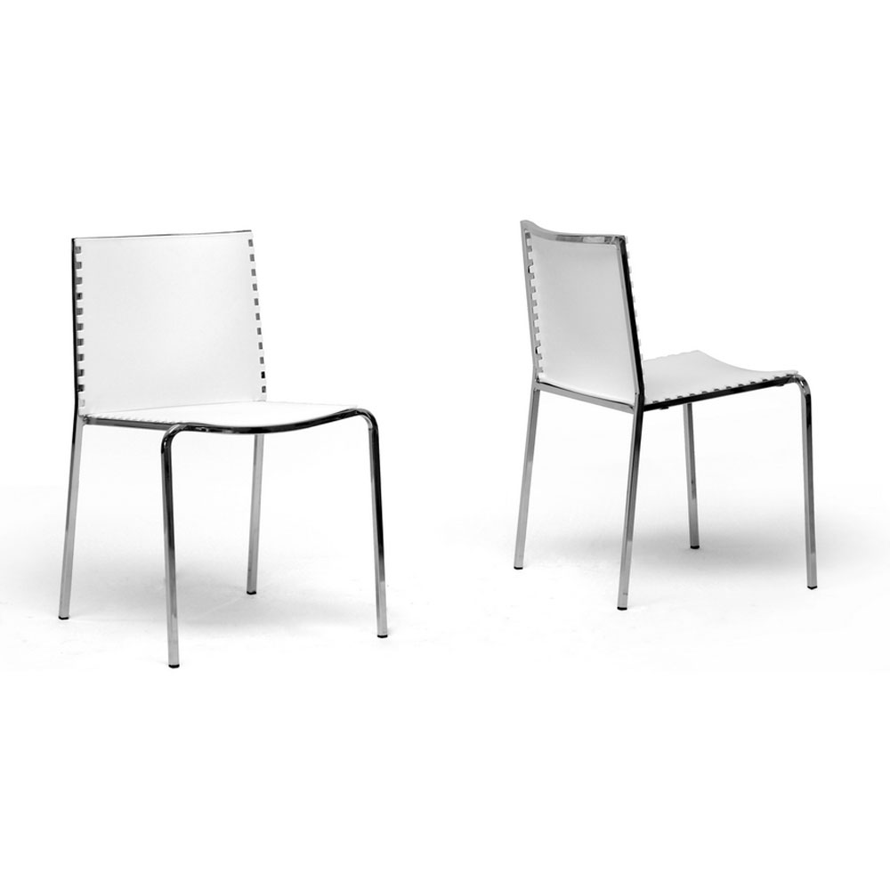 White plastic dining chairs set of 2 in dining chairs for Contemporary plastic dining chairs