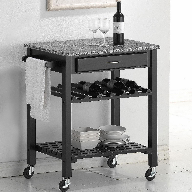 Baxton Studio Quebec Black Kitchen Cart With Granite Top By Wholesale Interiors In Kitchen