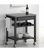 Baxton Studio Quebec Black Kitchen Cart with Granite Top by Wholesale Interiors