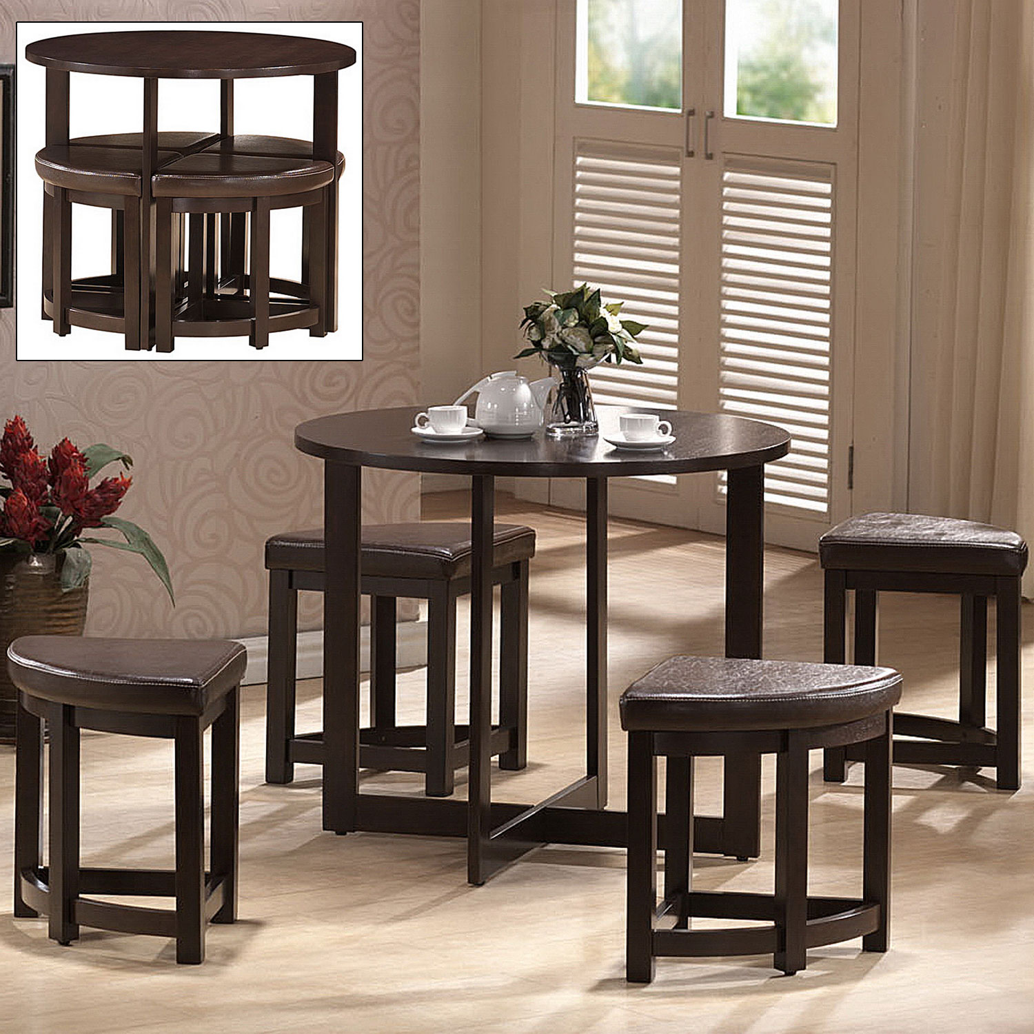 Rochester Bar Table Set With Nesting Stools In Bar Table Sets