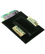 Genuine Leather Money Clip and Card Case - Black