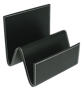 Genuine Leather File and Mail Organizer - Black Image