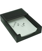 Genuine Leather Memo Pad Holder - Black