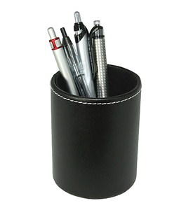 Genuine Leather Pencil Cup - Black Image