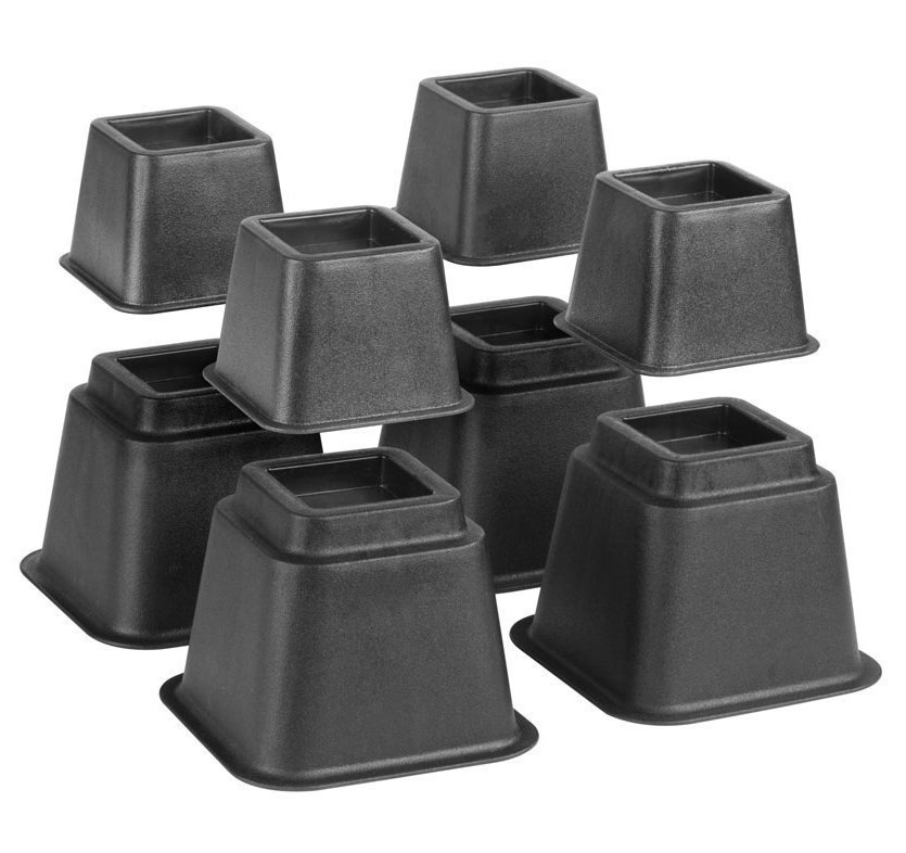 Bed Risers Adjustable Set Of 8 In Bed Risers