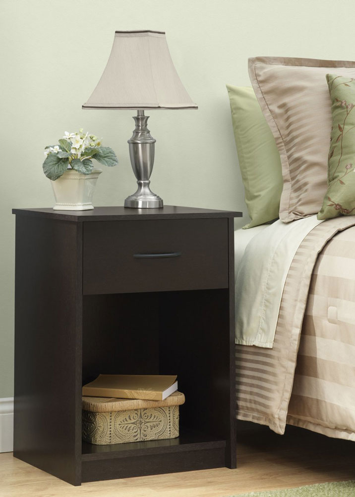 bedroom accent table in nightstands gray french chairs with black cowhide rug transitional